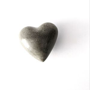 Heart Shaped Smooth Stone Paperweight, Gray, Small